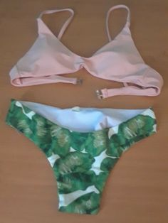699cc41646 Pink Bikini Top, With Green Floral Bottoms #Unbranded #Bikini Blue Swimsuit,  Pink