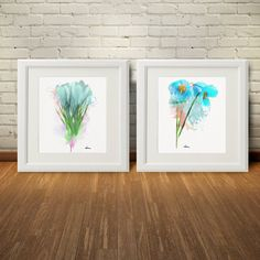 Blue Colorful Flower Print Watercolor - Watercolor Flower Print - Room Decor, Blue Flower Colorful Art Print, Pink Color, Set 2, Gift (011) by WatercolorArtDeco on Etsy