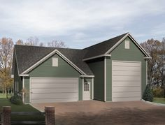 This two stall garage plan offers a great layout with storage space. The first garage bay has a 9 ft. ceiling and stairs with access to upper level storage.  The second garage bay has a 16 ft. high ceiling perfect for a large boat or motorhome.  There is also a service door entrance for convenience.     Garage Plan # 631008.