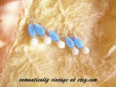 Blue Leaf Beaded Charm Set Shabby Chic by RomanticallyVintage