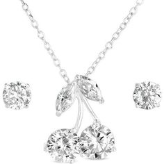 6a0bb64b5 20.00 CZ Sterling Silver Stud Earrings and Cherry Pendant, 18