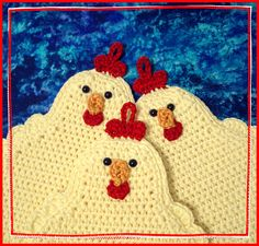 pot holders- pattern on ravelry http://www.ravelry.com/patterns/library/chickens