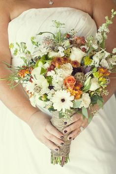 Rustic wildflower bouquet // photo by Jennifer Eileen Photography - I love the pops of color.