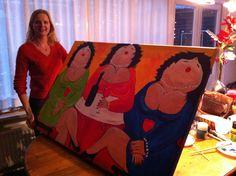 Mijn eerste schilderij. Dikke Dames naar Theo Broeren 2012 Acryl 120X80