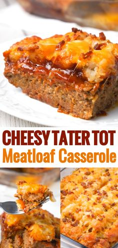 Cheesy Tater Tot Meatloaf Casserole is an easy ground beef dinner recipe with a meatloaf base, topped with a ketchup and bbq sauce glaze, tater tots, shredded cheese and crumbled bacon. loaf Cheesy Tater Tot Meatloaf Casserole - This is Not Diet Food Beef Recipes For Dinner, Ground Beef Recipes, Meat Recipes, Cooking Recipes, Bbq Dinner Ideas, Hamburger Dinner Ideas, Cheesy Recipes, Kitchen Recipes, Recipies