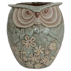 pretty porcelain owl planter  (****This is a planter, but there is also a large statue identical to this and a small statue further down.)