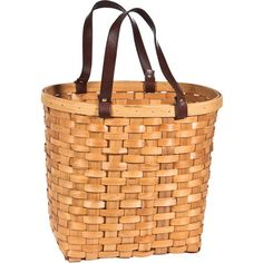 Woven tote with a natural finish.    Product: Tote Construction Material: Wood and leather  Color: