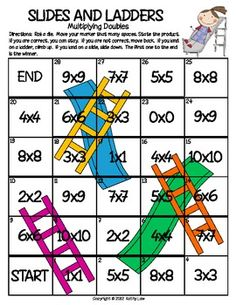 """Here's a """"Slides and Ladders"""" game for practicing multiplication of equal factors."""