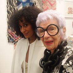 "How fab is this pic? The gorgeous Tracee Ellis Ross posed with the iconic Iris Apfel at Duoro Olowu's ""More Material"" exhibition."