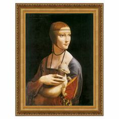 Framed canvas print of Da Vinci's Lady with an Ermine with hand-applied brushstroke details.   Product: Canvas printConstruction Material: CanvasColor: Gold frameFeatures:  Hand-applied brushstrokesReproduction of original art by Leonardo Da Vinci
