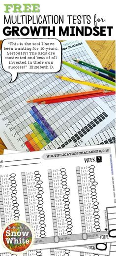 Assessment for multiplication facts was never easier! Mastering fluency takes practice and these printables (with tracker chart) teach tricks for quick recall! These tests promote growth mindset and take only ten minutes per week. Student-corrected too! Math For Kids, Fun Math, Math Help, Math Resources, Math Activities, Multiplication Test, Multiplication Strategies, Math Fractions, Fourth Grade Math