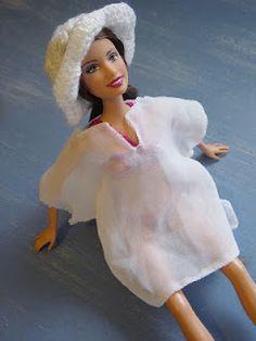 white kaftan and sunhat for a doll - crochet made in Australia