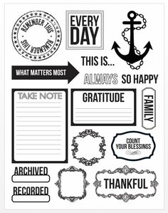 Free Thankful Journal Cards and Elements Printable