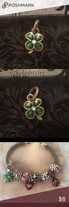 """Brighton four-leaf clover charm Brighton ABC 4-leaf clover charm   🍀Enamel finish 🍀Swarovski crystal in the middle  🍀Double-sided design 🍀5/8"""" wide X 5/8"""" high  🍀Retired 🍀In like-new condition   See design ideas in last photo.   **More Brighton beads, charms and jewelry in closet, including most items in last photo. Add 2 or more listings to a Bundle and save 20% on all of them, plus pay only one shipping fee!** Brighton Jewelry"""
