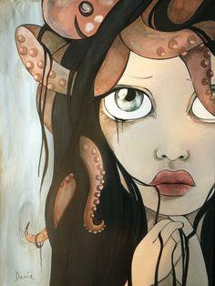 """inked"" www.daniapiotti.com #squid #octopus #ink #portrait #art"