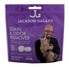Jackson Galaxy Cat Stain and Odor Eliminator by Fizzion - Removes Cat Urine and Feces Safely With The Professional Cleaning power Of CO2 (10 Tablets) Makes 230oz