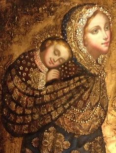 Madonna and Child Peruvian Style- I love that this shows Mary as a baby-wearing mama ❤️ Blessed Mother Mary, Divine Mother, Blessed Virgin Mary, Religious Images, Religious Icons, Religious Art, La Madone, Images Of Mary, Queen Of Heaven