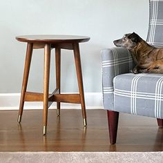 Amazon.com: Mid-Century, Transitional End Table with Walnut Finish - 3184426. Tapered Legs Capped with Brass Finished Brackets and Cross Base for Aesthetics and Support. Assembly Required: Kitchen & Dining