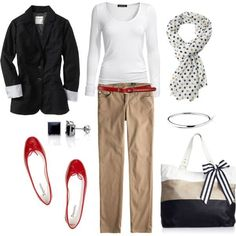 LOLO Moda: Cool women outfits: Black blazer, White t, Beige pants, Red accents.