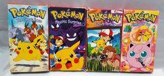 Vintage Pokemon VHS Lot of 4 Movies 1990s Jigglypuff Ash Catchem Pikachu