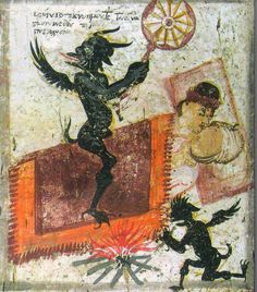 Demons surround lovers. Chapel of the cemetery, Grigoriou monastery of Mount Athos