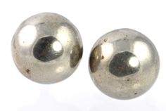 Vintage Sterling Silver Orb Button Screw Back Earrings made in Mexico C. 1930