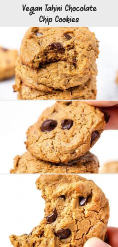 These VEGAN Tahini Chocolate Chip Cookies might just be the best cookies you'll ever taste! They're healthy, gluten-free and tasty! Easy homemade recipe that is chewy and so delicious. Healthy Vegan Cookies, Healthy Oatmeal Cookies, Protein Cookies, Flourless Chocolate Chip Cookies, Best Chocolate Chip Cookie, Vegan Gingerbread Cookies, Peanut Butter Breakfast, Ginger Molasses Cookies, Easy Homemade Recipes