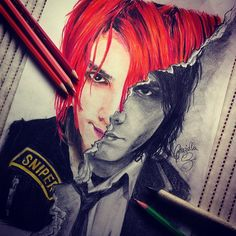 "Nicely done! Love the torn-edge effect. Photo by iwishiwereaghost: ""All done! Danger Days VS Revenge. The red hair took so much time! I'm hapoy with how it came out! Hopefully, I'm gonna send this on to Gerard. I hope he'll like it :)"""