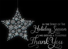 This holiday season; take the time to thank your customers, co-workers or employees with this elegant 'Snowflake Ornament of Thanks' card. With a midnight black background, the silver foil greeting stands out elegantly on the front of this card. The inside of the card is fully customizable, allowing you to choose a verse or create your own personal message. We recommend choosing a white silver line envelope to complement the color scheme of the card.