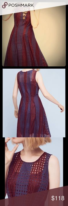 """NWT Anthropologie Plum Mesh Dress Gorgeous plum mesh fit-and-flare dress by Eva Franco.  Back zip closure.  Nylon, cotton blend with polyester lining.  Falls 38.5"""" from shoulder. Anthropologie Dresses Midi"""