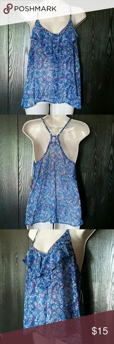 Blue Paisley Arizona top blouse Junior's Large Brand new with tags   Junior's Large  (true to size)  Functional buttons in the front   Adjustable straps in the back   100 % polyester  (very light material)  Just a tinny little see through, but it would have to be in the sun light.  MSRP  $26.00  Made in Indonesia   It comes with 1 spare button   Blue, yellow, pink, black and white  SO CUTE  Arizona Jean Company Tops Tank Tops