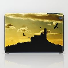 Castle in a golden sky iPad Case Silhouette of a castle on top of a mountain right after sunset. Photomontage of some of my own photos  Landscape, yellow, golden,black,birds, building, silhouette, mountain, sky, clouds, cloudy, neo-mystical, sundown