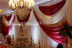 Wholesale Wedding Decorations - Buy 2013 Newly Design White+ Dark Red 20ft By 10ft Custom Made Wedding Backdrop Curtains, $139.0   DHgate