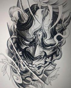 japanese tattoos symbols and meaning Oni Tattoo, Samurai Maske Tattoo, Hannya Maske Tattoo, Tattoo Geek, Hanya Tattoo, Tatoo Art, Irezumi Tattoos, Shogun Tattoo, Geisha Tattoos