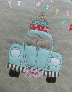 so cute VW Beetle appliqué .....  like luggage and bird cage too.  I would have to make it pink.