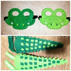 Crocodile tails and masks. Crocodile Craft, Crocodile Costume, Crocodile Party, Alligator Costume, Alligator Party, Halloween Costumes For Kids, Diy Costumes, Diy For Kids, Crafts For Kids