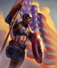 Captain America  -- Share via Artstation iOS App, Artstation © 2016 ...