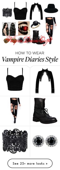 """""""Vampire Diaries"""" by lee-turnup on Polyvore featuring WithChic, Steve Madden, Maison Michel, Ray-Ban and Pomellato"""