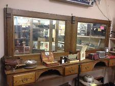 1900s Antique Oak Barber Shop Backbar.