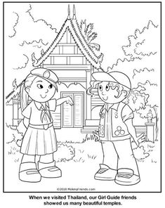 Thailand Girl Guide Coloring Page Rainbow Activities, Girl Scout Activities, Girl Scout Leader, Girl Scout Troop, Brownies Activities, Multicultural Crafts, Cool Coloring Pages, Colouring Sheets, Girl Scout Juniors