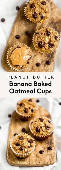 Delicious peanut butter banana baked oatmeal cups made with protein-packed peanut butter and naturally sweetened with bananas and a touch of maple syrup. These easy banana baked oatmeal cups are easil Peanut Butter Muffins, Peanut Butter Roll, Peanut Butter Oatmeal, Bananas And Peanut Butter, Baking With Bananas, Peanut Butter Chips, Baked Oatmeal Cups, Banana Oatmeal Muffins, Baked Banana