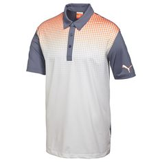 Shopping for custom polo shirts? Check out this PUMA Glitch Polo and bring your branding to people everywhere today. Custom Polo Shirts, Golf Shirts, Sports Shirts, Laid Back Style, Golf Outfit, Grey And White, Nike Men, Mens Fashion, Glitch