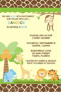 Baby Shower Invitation Zoo Baby Jungle Invite by TheInviteLadyShop