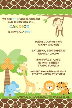 Baby Shower Invitation Zoo Baby Jungle Invite by TheInviteLadyShop