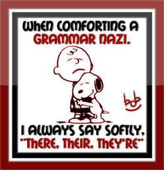 Lmfao. I am a little nazi about grammar too, but I don't say anything about it cuz they are dicks