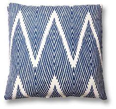 Nandi 20x20 Cotton-Blend Pillow, Navy