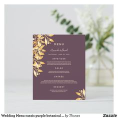 Shop Wedding Menu cassis purple botanical gold created by Thunes. Wedding Menu Cards, Wedding Table Settings, Dinner Menu, Deep Purple, Reception, Floral, Gold, Flowers, Receptions