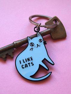 Enamel Cat Keyring