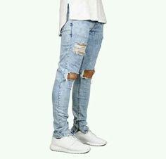 Men Jeans Stretch Destroyed Ripped Design Fashion Ankle Zipper Skinny Jeans for Men Robin Jeans Zipper Fly Full Length Pants High Street Fashion, Street Style, Fashion Font, Mens Fashion, Fashion Design, Fashion Branding, Stretch Jeans, Ripped Skinny Jeans, Skinny Jeans