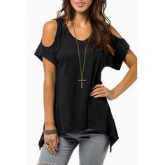 Elegante con cuello en V color sólido fotografica de manga corta de la camiseta para las mujeres para Vender - La Tienda En Online IGOGO.ES